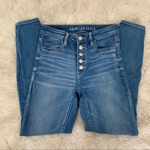 AEO super hi rise jegging with exposed button fly